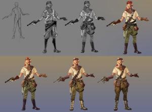2d; photoshop; concept; character; air; pirate; gun; goggles; aviation; gear